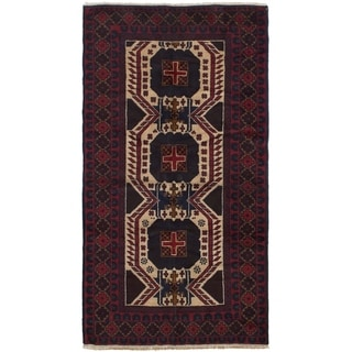 ECARPETGALLERY Hand-knotted Teimani Cream, Red Wool Rug - 3'3 x 6'3