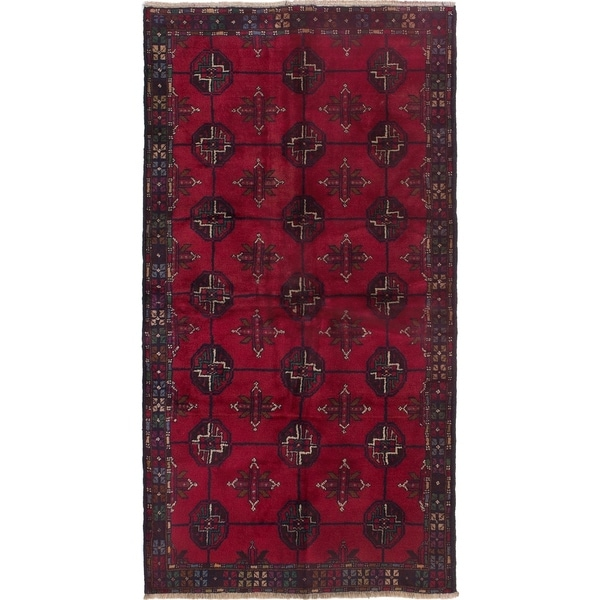 ECARPETGALLERY Hand-knotted Finest Rizbaft Red Wool Rug - 3'5 x 6'6