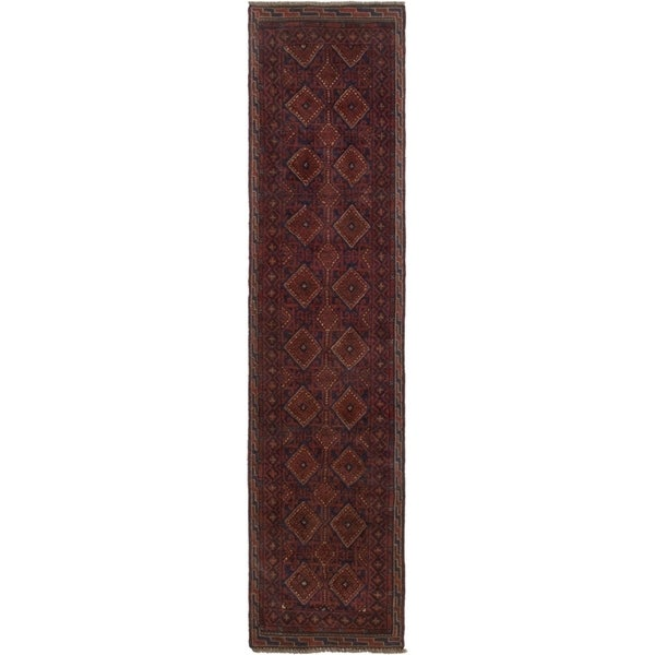 ECARPETGALLERY Hand-knotted Tajik Caucasian Dark Red Wool Rug - 1'11 x 9'0