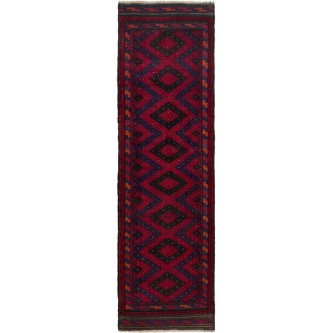 ECARPETGALLERY Hand-knotted Tajik Caucasian Red Wool Rug - 2'4 x 8'6