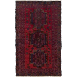ECARPETGALLERY Hand-knotted Finest Rizbaft Red Wool Rug - 3'10 x 6'6