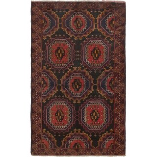 ECARPETGALLERY Hand-knotted Rizbaft Black, Dark Copper Wool Rug - 3'7 x 6'1