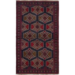 ECARPETGALLERY Hand-knotted Teimani Dark Navy, Red Wool Rug - 3'6 x 6'0