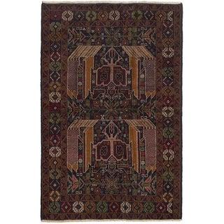 ECARPETGALLERY Hand-knotted Finest Rizbaft Dark Brown, Dark Navy Wool Rug - 4'0 x 6'4