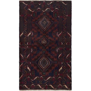 ECARPETGALLERY Hand-knotted Kazak Dark Brown, Dark Navy Wool Rug - 3'7 x 6'6