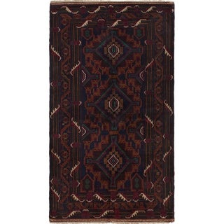 ECARPETGALLERY Hand-knotted Rizbaft Dark Navy, Light Brown Wool Rug - 3'7 x 6'7