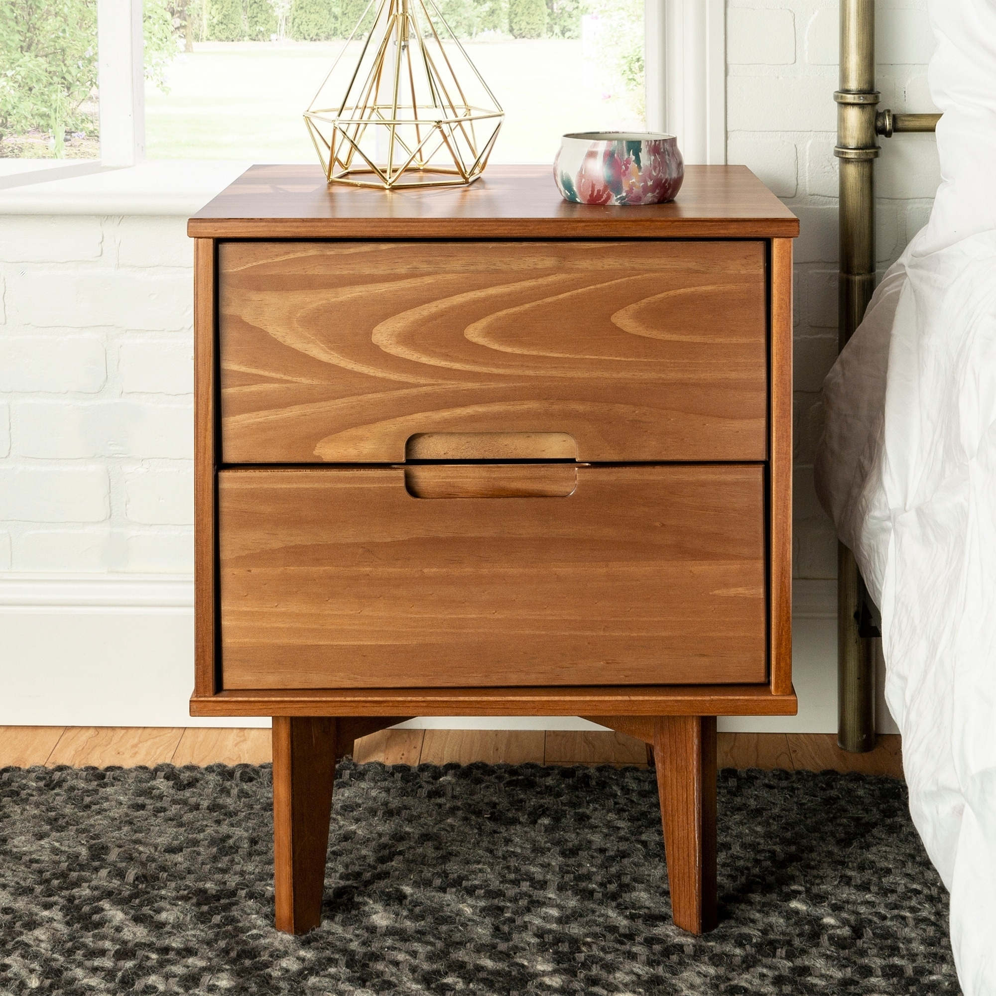 Carson Carrington 20 Inch Longyearbyen Mid Century Modern Nightstand Brown 2 Drawer Storage Table