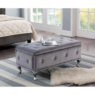 Grey Velvet Contemporary Bench