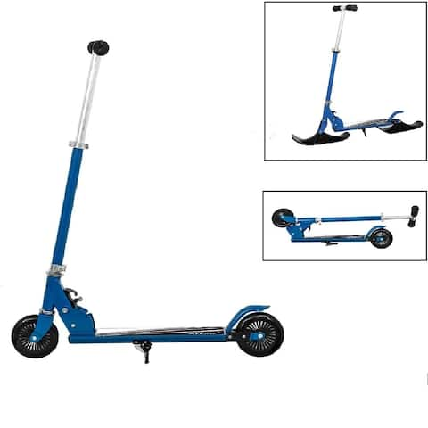 ALEKO Street Ski 2-in-1 Kids Kick Scooter with Ski Attachment Blue