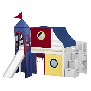 Jackpot Castle White, Red, and Blue Pine Twin Low-loft Stairway, Slide, Tent, and Tower Bed