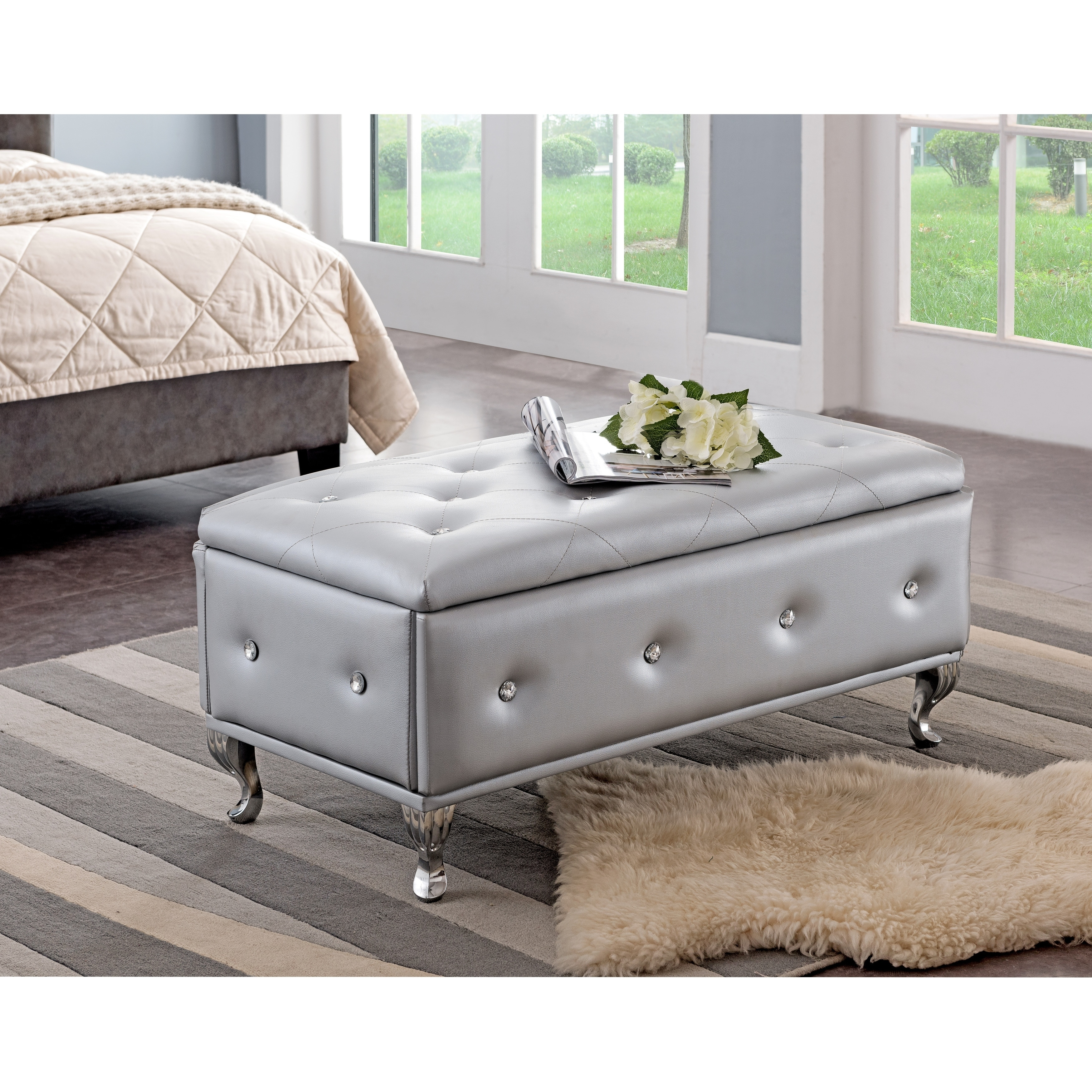 Peachy Silvertone Leather Contemporary Storage Bench Theyellowbook Wood Chair Design Ideas Theyellowbookinfo
