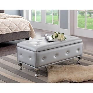 Silvertone Leather Contemporary Storage Bench