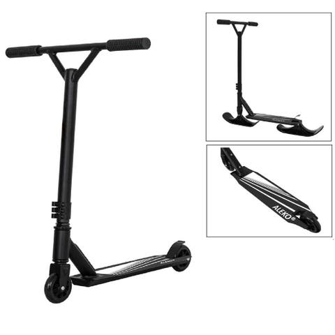 ALEKO Adult Street Ski 2-in-1 Kick Scooter with Ski Attachment Black