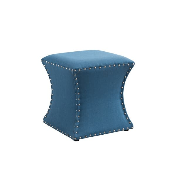 Fantastic Light Blue Fabric And Wood Tufted Transitional Ottoman Gmtry Best Dining Table And Chair Ideas Images Gmtryco