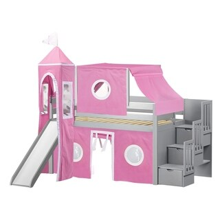 Jackpot Princess Grey, Pink, and White Pine Twin Low-loft Stairway, Slide, Tent, and Tower Bed