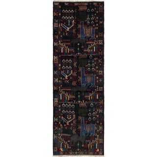 ECARPETGALLERY Hand-knotted Finest Rizbaft Dark Navy Wool Rug