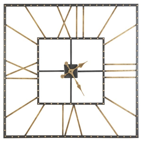 Signature Design by Ashley Thames Casual Black/Gold Wall Clock