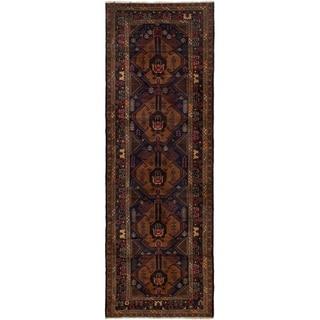 ECARPETGALLERY Hand-knotted Finest Rizbaft Brown, Dark Navy Wool Rug - 3'1 x 9'5