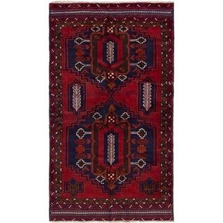 ECARPETGALLERY Hand-knotted Kazak Red Wool Rug - 3'7 x 6'6