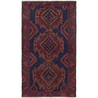 ECARPETGALLERY Hand-knotted Kazak Brown, Dark Navy Wool Rug - 3'5 x 6'2