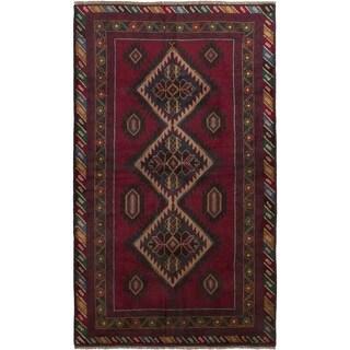 ECARPETGALLERY Hand-knotted Finest Rizbaft Dark Red Wool Rug - 3'5 x 6'5