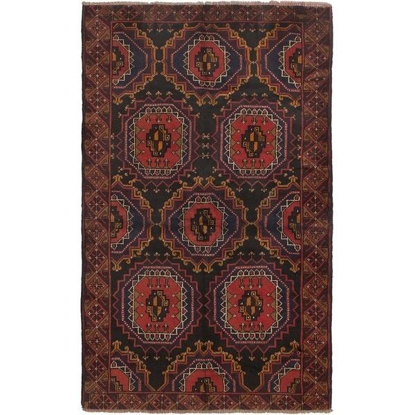 ECARPETGALLERY Hand-knotted Rizbaft Black, Dark Copper Wool Rug - 3'7 x 6'1