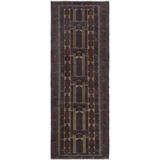 ECARPETGALLERY Hand-knotted Finest Rizbaft Dark Navy Wool Rug - 3'3 x 9'6