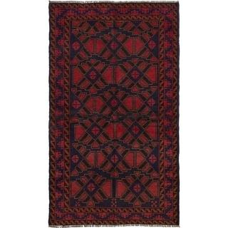 ECARPETGALLERY Hand-knotted Teimani Dark Navy, Red Wool Rug - 3'5 x 6'0