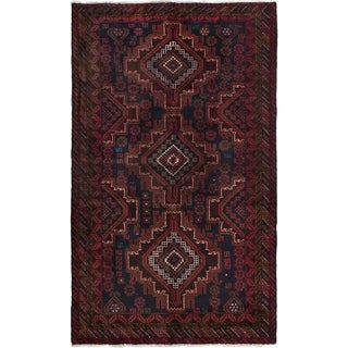 ECARPETGALLERY Hand-knotted Finest Rizbaft Dark Navy, Red Wool Rug - 3'11 x 6'7