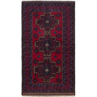ECARPETGALLERY Hand-knotted Rizbaft Red Wool Rug - 5'8 x 3'1