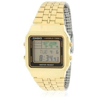 Casio Gold- Tone Digital Retro Alarm Chronograph Mens Watch A500WGA-1D