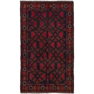 ECARPETGALLERY Hand-knotted Teimani Dark Navy, Red Wool Rug - 3'3 x 6'1