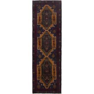 ECARPETGALLERY Hand-knotted Finest Rizbaft Dark Navy, Dark Red Wool Rug - 3'3 x 10'10