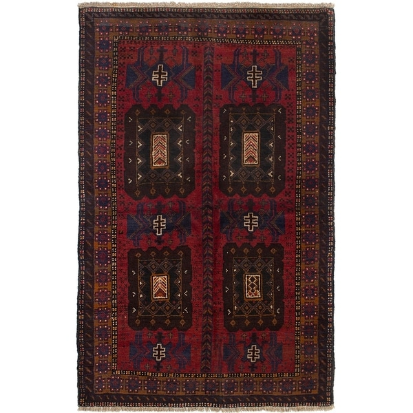 ECARPETGALLERY Hand-knotted Teimani Red Wool Rug - 3'8 x 6'0