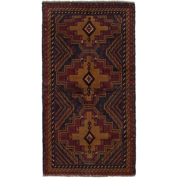 ECARPETGALLERY Hand-knotted Kazak Light Brown, Red Wool Rug - 3'3 x 6'2