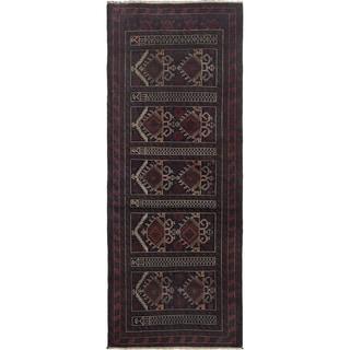 ECARPETGALLERY Hand-knotted Rizbaft Dark Navy, Red Wool Rug - 3'4 x 9'3