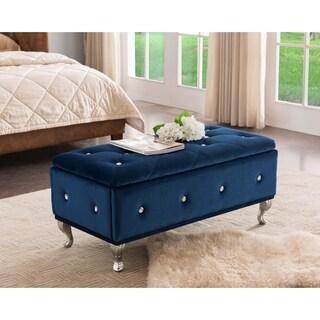Blue/Chrome Velvet/Wood Contemporary Bench
