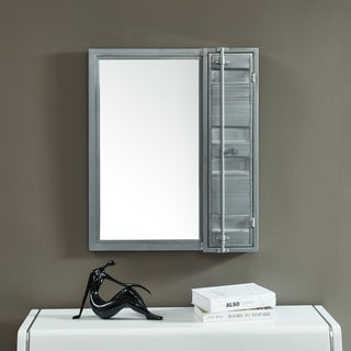 Carbon Loft Woolf Metal Wall Mirror with Cabinet