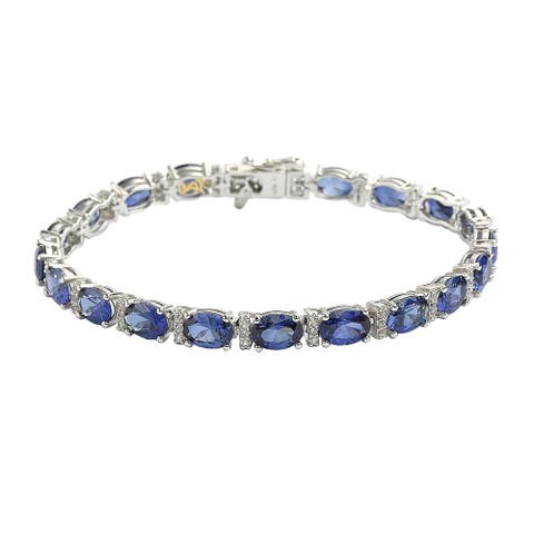 Suzy L. Sterling Silver Oval-Cut Blue Sapphire & Diamond Accent Tennis Bracelet