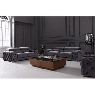 Divani Casa Trisha Modern Grey Fabric Sofa Set