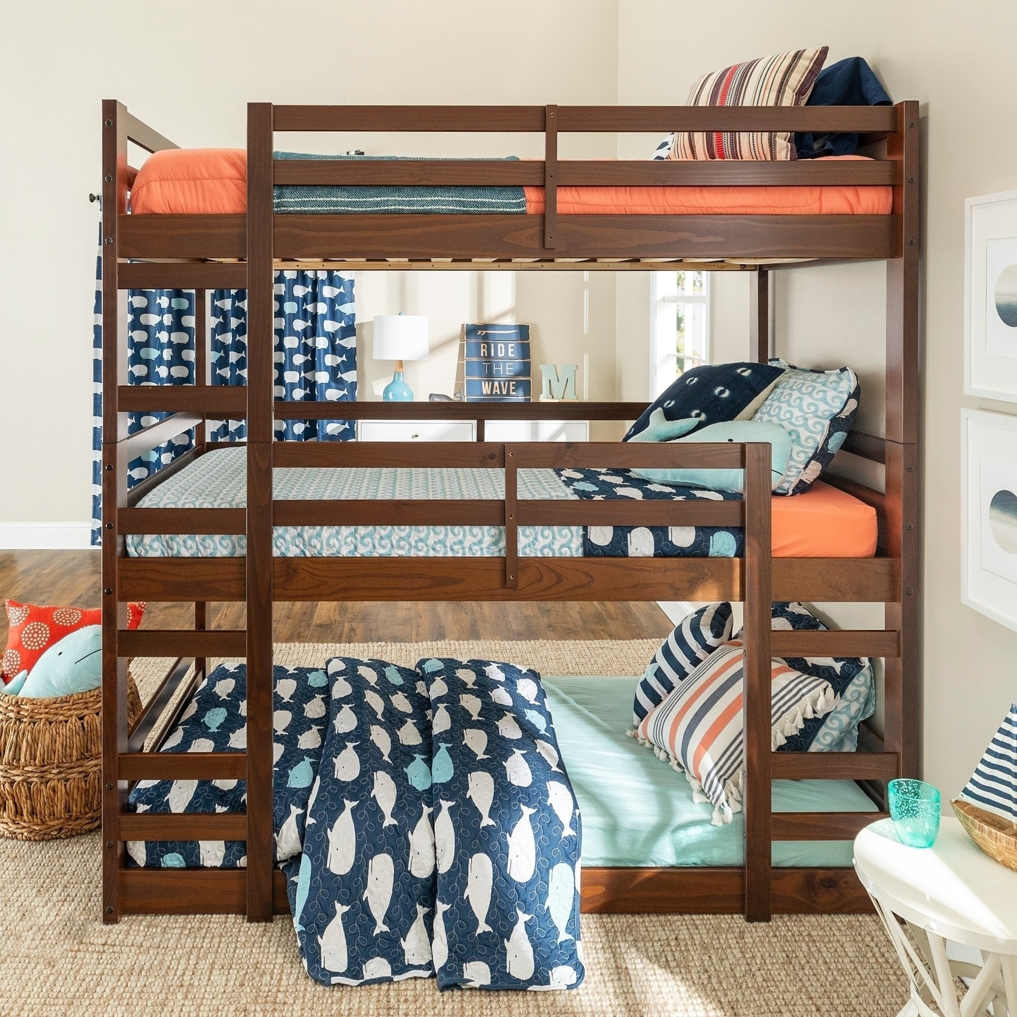 Picture of: Taylor Olive Browning Twin Triple Bunk Bed Overstock 25483389