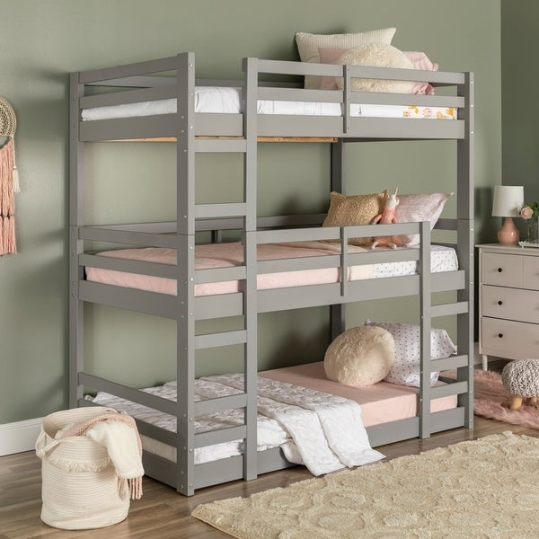 Shop Taylor Olive Browning Twin Triple Bunk Bed On Sale Free