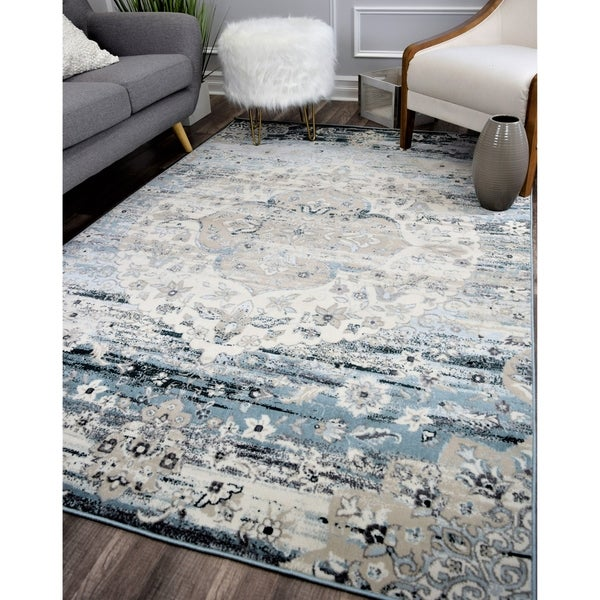 Maxwell Vintage Transitional Rug Sweeping Blue