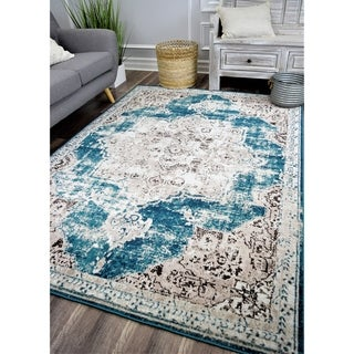 Link to The Curated Nomad Islais Teal/ Brown Vintage Transitional Area Rug Similar Items in Transitional Rugs