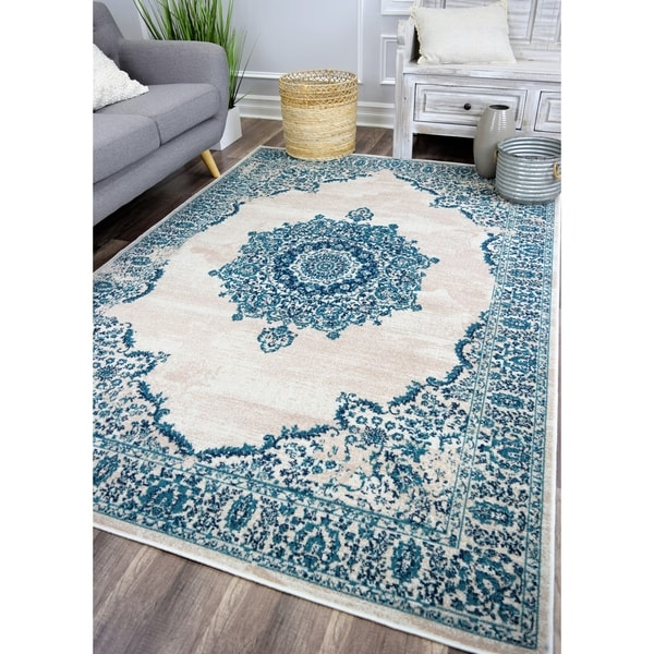 The Curated Nomad Islais Oceanic Steel Vintage Transitional Area Rug