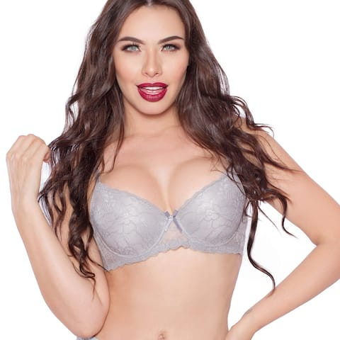 JL Intimates Women's Lace Sexy Embroidered Grey Push Up Classic Bra