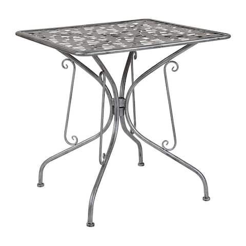 "Offex 27.5"" Square Contemporary Antique Silver Indoor Outdoor Steel Patio Table"