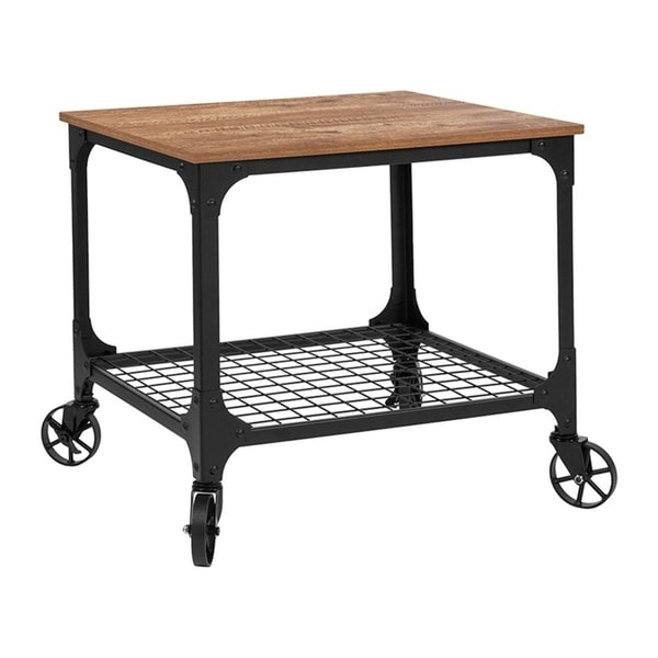 Offex Grant Park Rustic Wood Grain and Industrial Iron Kitchen Serving and Bar Cart