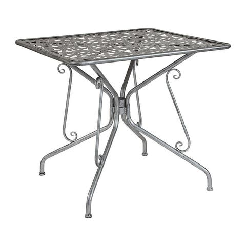 "Offex 31.5"" Square Contemporary Antique Silver Indoor Outdoor Steel Patio Table"
