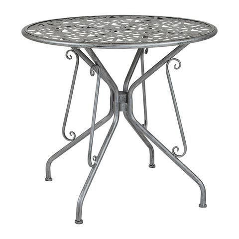 "Offex 31.5"" Round Contemporary Antique Silver Indoor Outdoor Steel Patio Table"